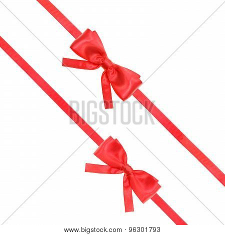 Red Satin Bow Knot And Ribbons On White - Set 55