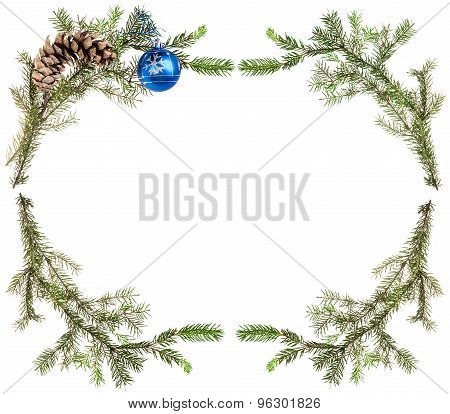 Spruce Branches With Cones And Blue Ball On White