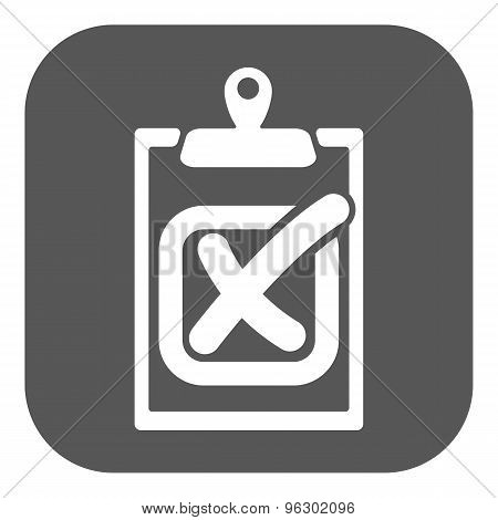 The checklist icon. Clipboard and failed task, wrong answer symbol. Flat