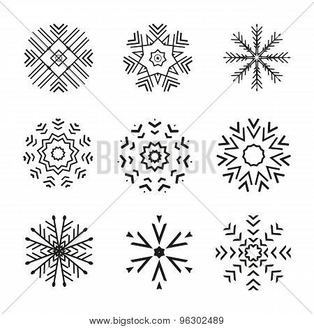 Set of 9 vector abstract snowflakes