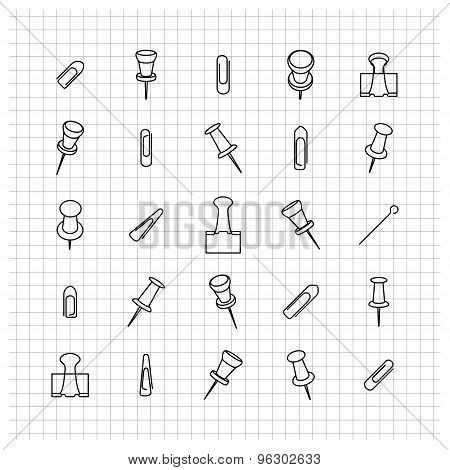 Icons Clip Of Thin Lines, Vector Illustration.