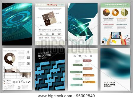 Blue Technology Backgrounds And Concept Infographics Set