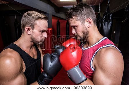 Close up view of two boxing men exercising together