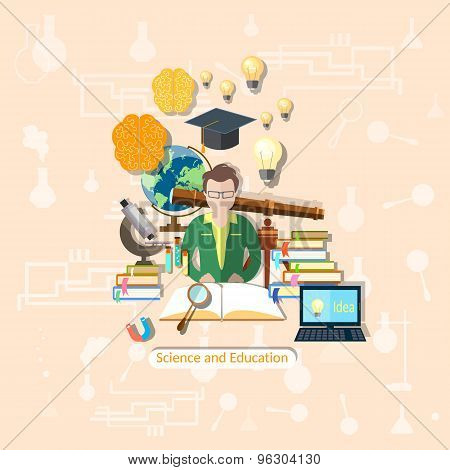 Education And Science: Student, Study, Research, Experimentation, Lessons,vector