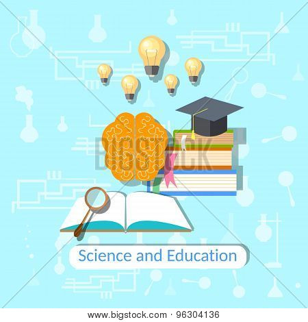 Education Concept: Science, College, University, Brain, Textbooks,vector illustration