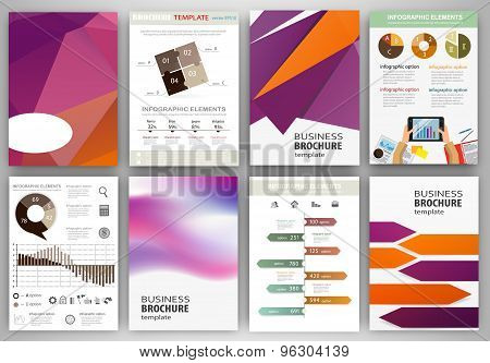 Purple And Orange Business Backgrounds And Abstract Concept Infographics