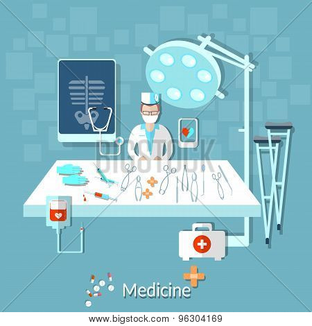 Health Doctor In The Operating Room, Medical Instruments, Medical Treatment, Crutches, Pills, Drugs