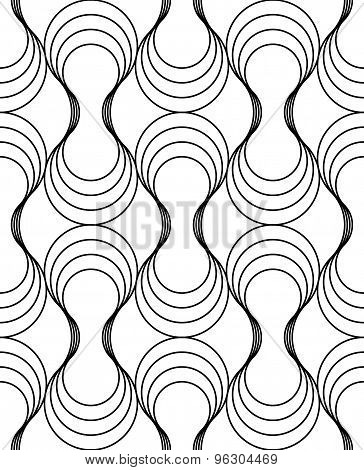 Black And White Geometric Seamless Pattern With Wavy Line, Abstract Background.