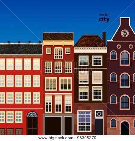 Street of abstract old houses. Vector background.