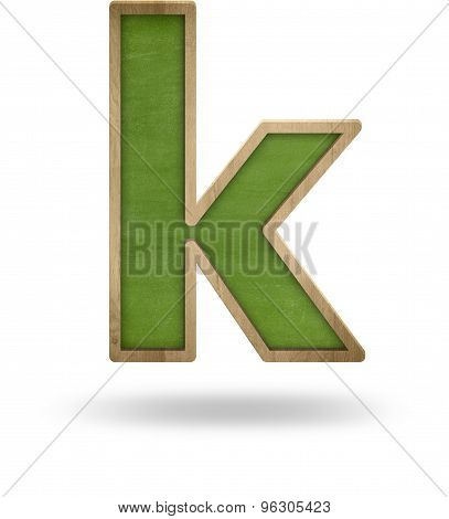 Green blank letter k shape blackboard