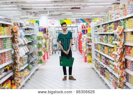 Hispanic Man In A Supermarket