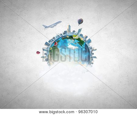 Our Earth planet and modern life. Elements of this image are furnished by NASA