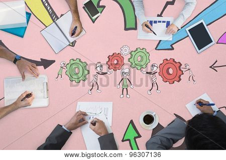 Business meeting against cute characters with cogs and wheels