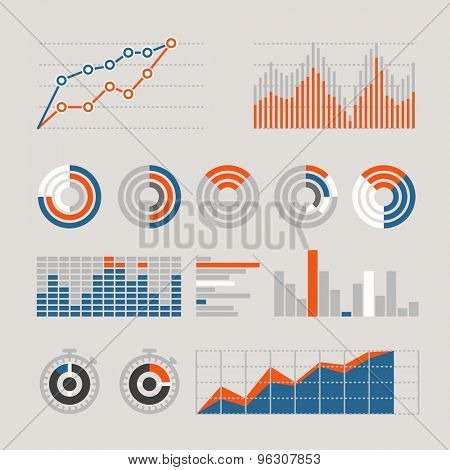 Different graphic business ratings and charts. infographic elements