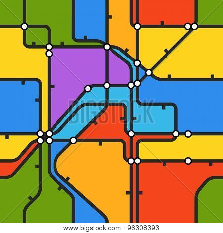 Seamless background of abstract metro scheme