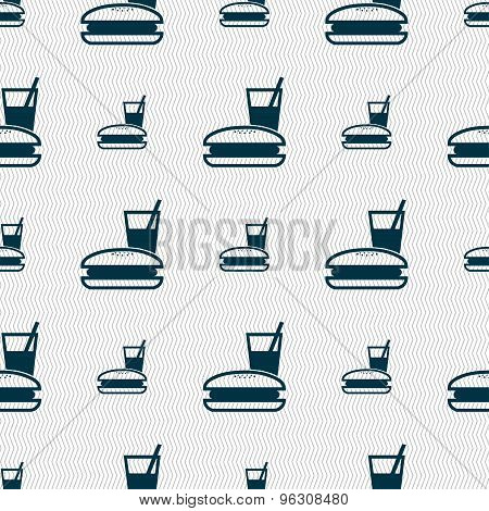 Lunch Box Icon Sign. Seamless Pattern With Geometric Texture. Vector