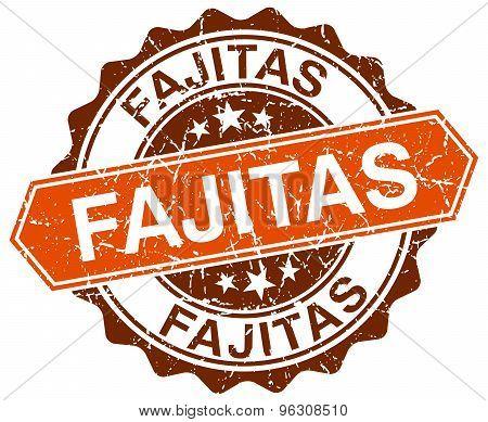 Fajitas Orange Round Grunge Stamp On White