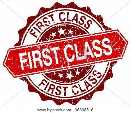 First Class Red Round Grunge Stamp On White