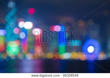 Out of focus bokeh lights of Hong Kong city