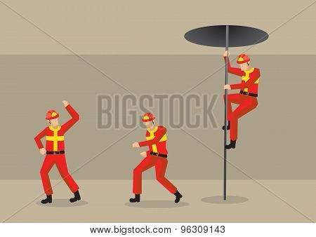 Firemen In Fire Station Vector Cartoon Illustration