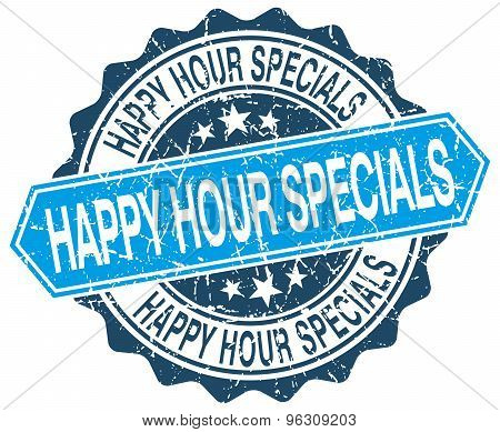 Happy Hour Specials Blue Round Grunge Stamp On White