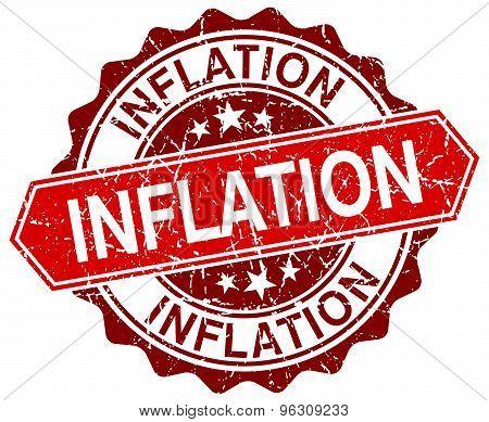 Inflation Red Round Grunge Stamp On White