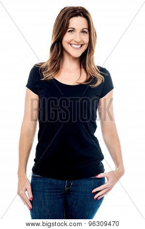 Casual Pose Of Middle Aged Woman