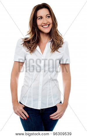 Pretty Smiling Lady Over White