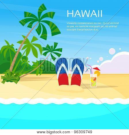 Summer Beach Flip-flops Sand Hawaii Card Tropical Vacation