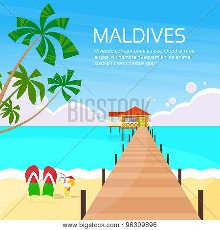 Maldives Tropical Island Long Pier Summer Vacation Paradise
