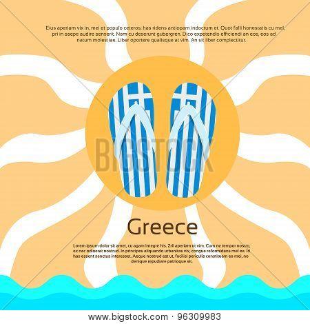 Greece Flip-flops Summer Beach Sand Flag Color Card