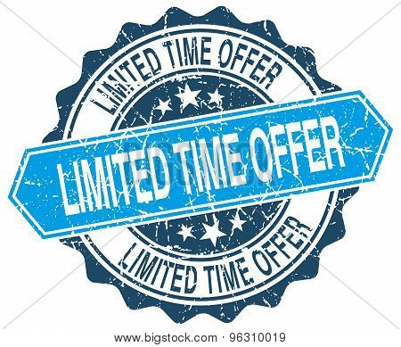 Limited Time Offer Blue Round Grunge Stamp On White