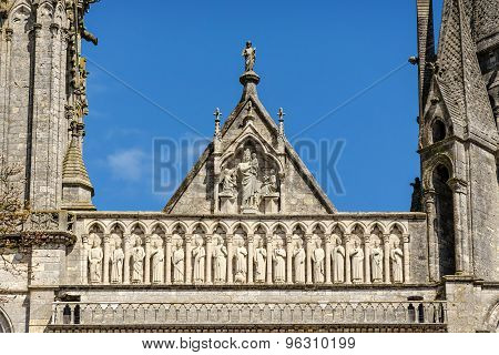 Group Of Sculptures Above Royal Portal Of Cathedral Our Lady Of Chartres, France