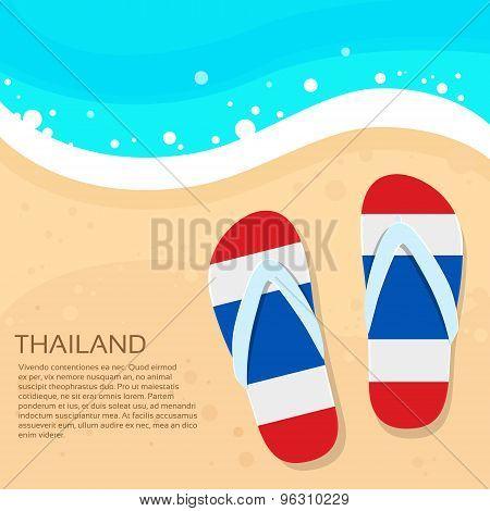 Thailand Flip-flops Summer Beach Sand Flag Color Card Vacation