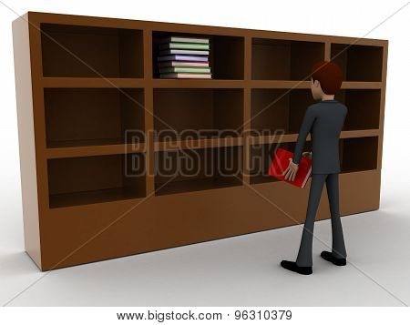 3D Man Taking Book From Book Shelf Concept