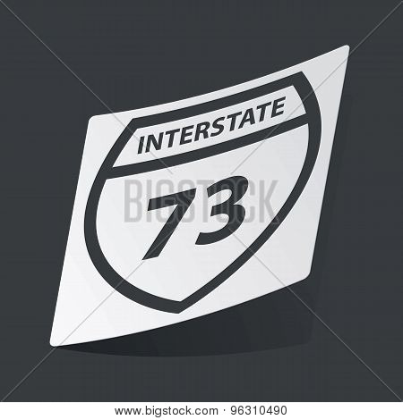 Monochrome Interstate 73 sticker