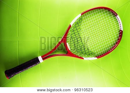 Tennis Racket Over Synthetic Surface