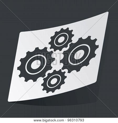 Monochrome cogs sticker