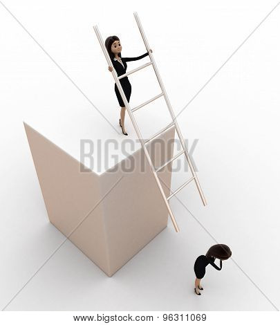 3D Woman Hit Another Woman With Stairs From Height Concept