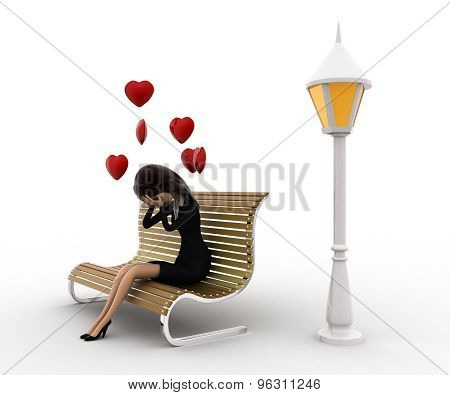 3D Woman Sitting On Batch And In Love With Hearts Flying Concept