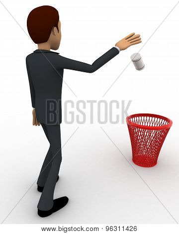 3D Man Throwing Paper In Dustbin Concept