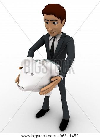 3D Man Holding Piggybank In Hand Concept