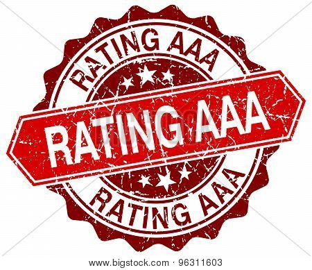 Rating Aaa Red Round Grunge Stamp On White