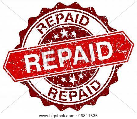 Repaid Red Round Grunge Stamp On White