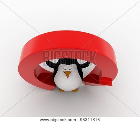 3D Penguin Under Red Round Shaped Arrow Concept