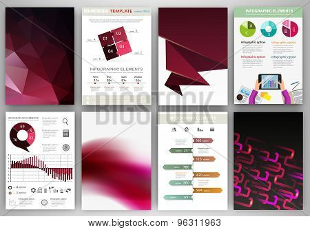 Black And Purple Backgrounds And Abstract Concept Infographics