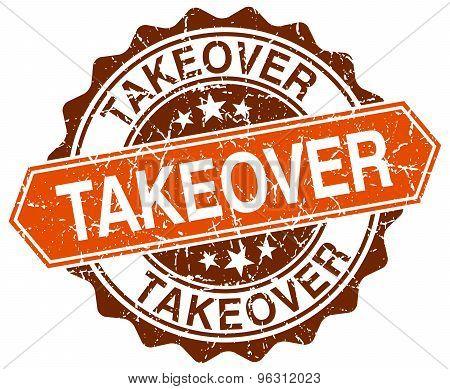 Takeover Orange Round Grunge Stamp On White