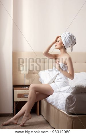 Lovely woman resting after taking bath