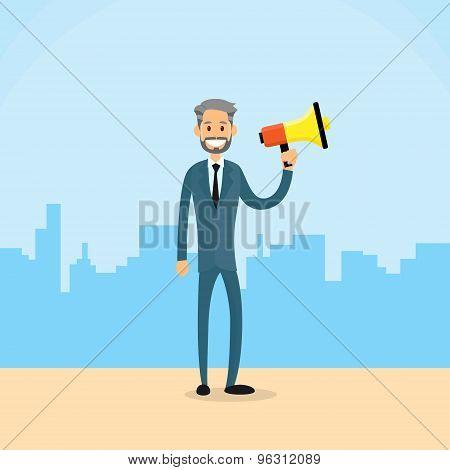 Businessman Hold Megaphone Loudspeaker City Skyscraper