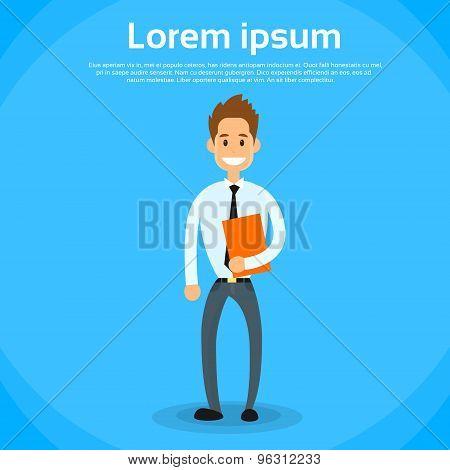 Businessman Smile Hold Briefcase Full Length
